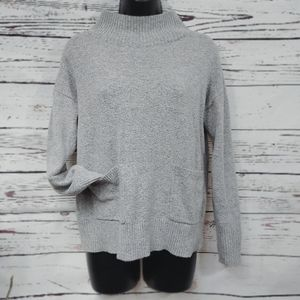 Loft Outlet Mock Neck Gray Sweater w/ pock…